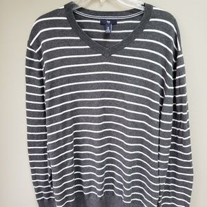 Gap V Neck Cotton Sweater Pullover Stripes Large